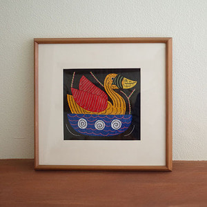 mola art frame (duck / yellow)