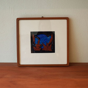mola art frame (fish /aqua)