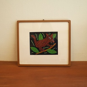 mola art frame (squirrel / brown L)