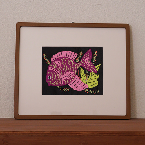 mola art frame (fish / rose L)