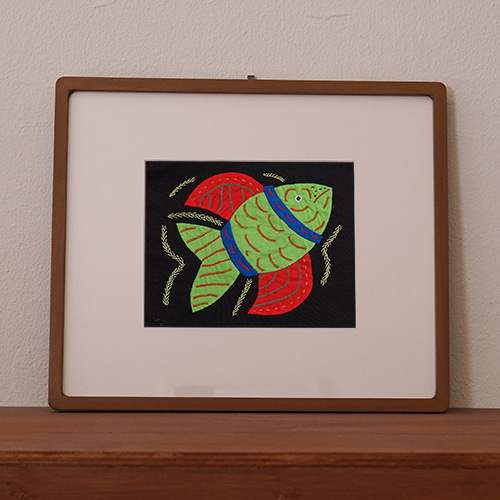 mola art frame (fish / green L)