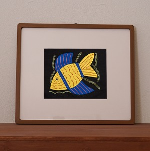 mola art frame (fish / yellow L)