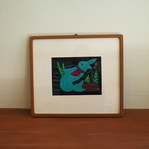 mola art frame (dolphin / brown L)